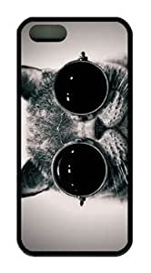 Animal Dark Cat Wear Glasses Fit iphone 5/5s Black Rubber Material Cover
