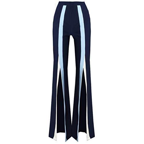 Vita A Alta Chiffon Pantaloni Larghi In Con Rxf Svasati Blu twgxp7Z
