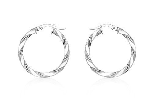 9ct or blanc 25mm Twist Boucles d'oreilles créoles