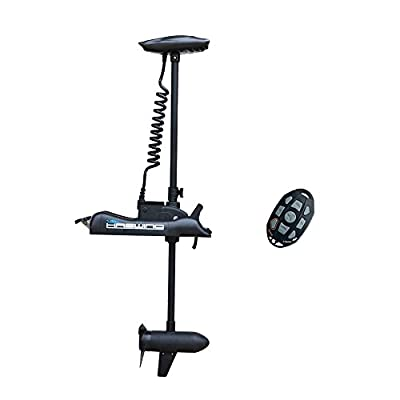 "Aquos Black Haswing 12V 55LBS 54"" Shaft Bow Mount Electric Trolling Motor Portable, Variable Speed for Bass Fishing Boats Freshwater and Saltwater Use, Energy Saving, Precise Control, Quiet Operation"