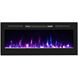 "U-MAX 50"" Recessed Electric Fireplace, Wall Mounted Electric Fireplaces, Log set & Crystal, 750W/1500W Heater, Black"