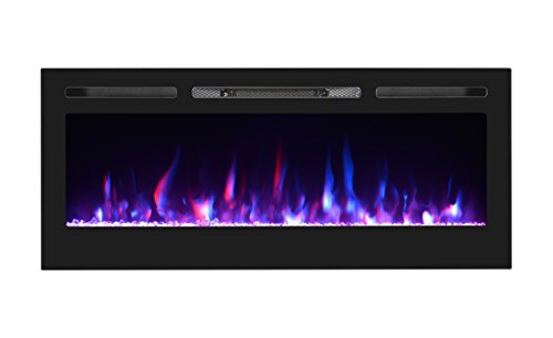 """U-MAX 50"""" Recessed Electric Fireplace, Wall Mounted Electric Fireplaces, Log set & Crystal, 750W/1500W Heater, Black"""