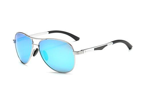 Plata Hombre Polarizadas 400 Gafas Plata caso de de MPTECK estuche con Plata sol Protección gafas clásico polarizado aviador UV y el Sol Azul pañuelo Aviador tw8IddUq