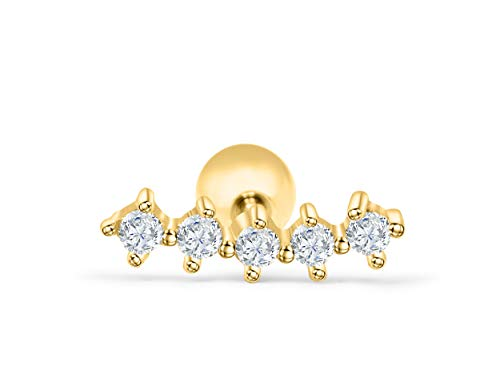 ONDAISY 14K Gold Plated Stainless Steel Lucky Simulated Diamond Star Cz Modern Slim Skinny Curved Line Bar Stick Ear Stud Earring Piercing 16g For Women Girls Men