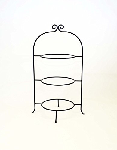 (Wrought Iron Three Tier Buffet Platter Rack-28.5 Inches Tall x 17.25 Inches Wide. Rings are 10.25 Inches in Diameter. Width between bars is 14.25 Inches. Handmade.)