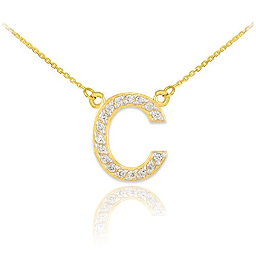 Fine 14k Yellow Gold Diamond-Studded Initial Letter C Pendant Necklace, - Letter Gold Yellow 14k