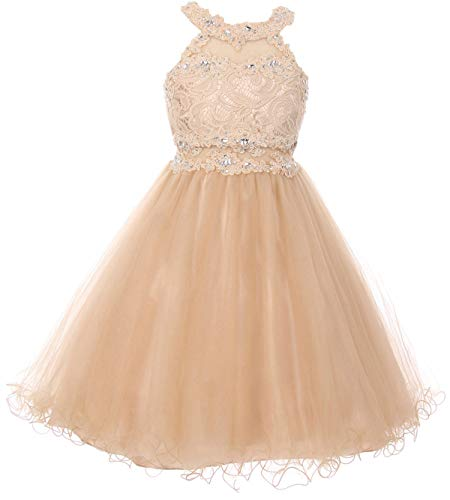 Sparkle Bridesmaid Dress - Big Girls' Sparkle Rhinestones Halter Lace Junior Bridesmaid Pageant Flower Girl Dress Champagne 14 (C50C40C)