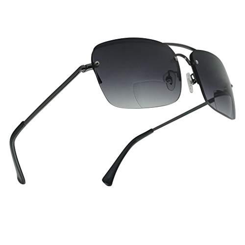 - Classic Square Aviator Bifocal Sun Reading LIghtweight Sports Sunglasses for Men and Women (Gun Metal | Smoke Gradient, 2.25)