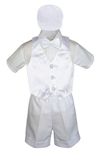 5pc Baby Toddler Little Boys White Bow Tie Shorts Suit Satin Vest S-4T (2T, White)