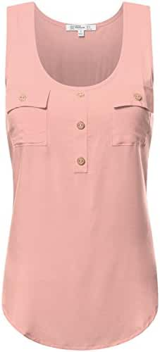 FPT Women's Henley Hi Low Tank Top with Pockets