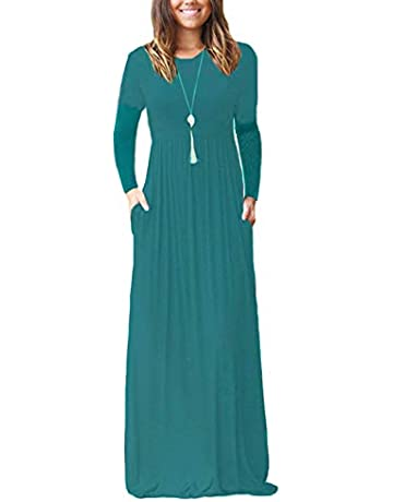 3248c341b9 Viishow Women's Long Sleeve Empire Waist Maxi Dresses Long Dresses with  Pockets