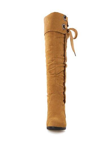 Brown Cuñas 5 Uk6 Casual Cn39 5 us8 Redonda Moda Eu39 Amarillo Cn35 us5 Vellón Brown Punta Eu36 Mujer La Marrón Vestido A Zapatos De Botas Tacón Cuña Negro Uk3 Xzz OcA1gXwf4q