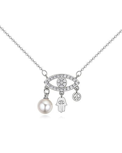 Young & Forever Women's Valentine Timeless Treasure Hamsa Hand Pearl Paradise Necklace by Young & Forever
