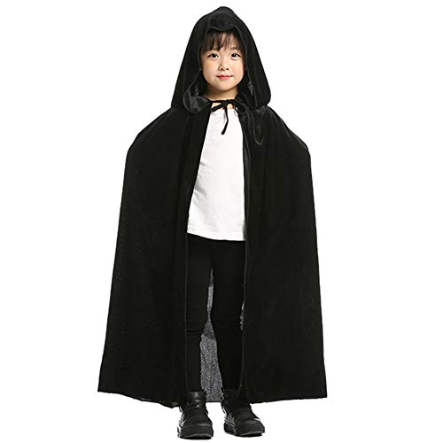 Aricy Hooded Velvet Cloak Cape Halloween Role Play Cosplay Costume for Kids A005BM Black