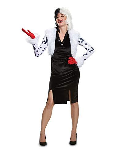 Cruella Deville Costumes (Disguise Women's Plus Size Cruella De Vil Deluxe Adult Costume, White, XL)