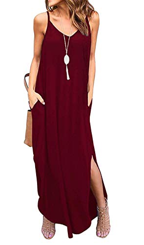 Sleeveless Strappy Cami Maxi Long Dress V Neck with Pockets Casual Summer Beach Skirt Cover Up Backless Side Slits Loose Solid Color for Women Red M
