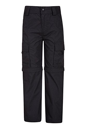 Mountain Warehouse Active Kids Convertible Trousers - Zip Off Pants Black 9-10 Years
