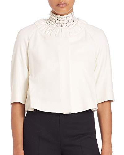 Blend Wool Ivory Jacket (Akris Womens Ruched Wool-Blend Crop Jacket, 12)