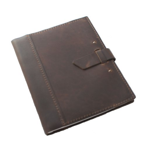 "Leather Composition Notebook Cover with College Ruled Insert 9 ¾"" X 7 ½"" Refillable Journal Cover for an Executive, Men or Women, Vintage, Hand Made Book, With Top Grain Leather in Dark Brown"