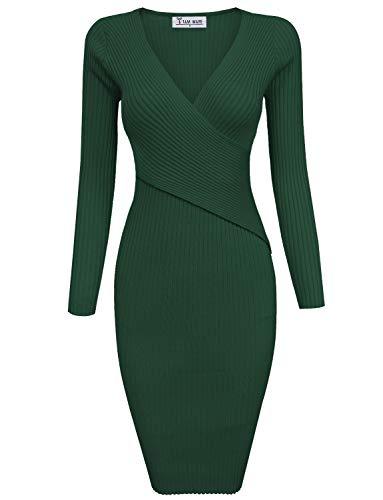 TAM WARE Womens Stylish Surplice Wrap Bodycon Knit Midi Dress TWCWD157-HUNTERGREEN-XL