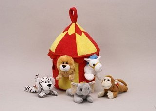 Jungle Safari Tent - Plush Circus Animal House with Animals - Five (5) Stuffed Circus Animals ( Horse, Monkey, Elephant, Lion, Tiger) in Play Circus Tent House