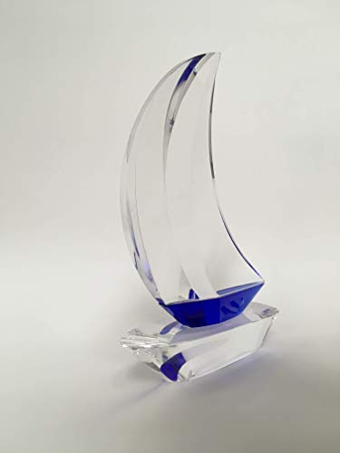 Great Lakes Collectibles Large Solid Crystal Sailboat with Sapphire Blue Highlights.