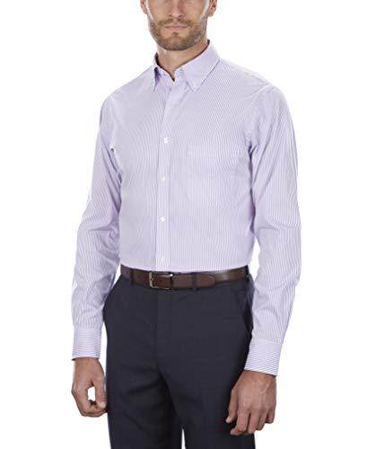 "Van Heusen Men's Pinpoint Regular Fit Stripe Button Down Collar Dress Shirt, Wild Orchid, 18.5"" Neck 36"