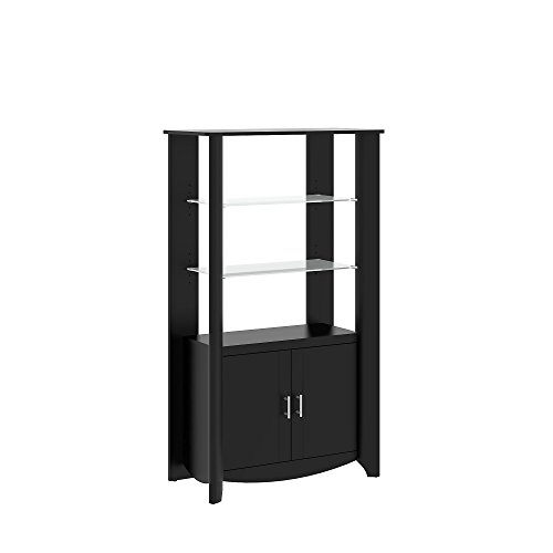 Cabinet Glass Modern (Bush Furniture Aero Tall Library Storage Cabinet with Doors in Classic Black)