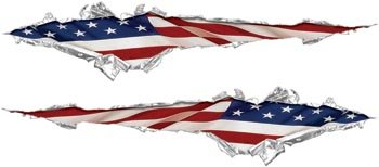 Flag Torn (Ripped / Torn Metal Look Decals With American Flag)