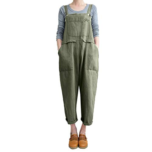 (TIFENNY Women's Sleeveless Bib Pants Dungarees Loose Cotton Linen Long Playsuit Party Jumpsuit Trousers)