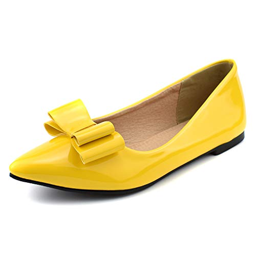 (100FIXEO Women Pointy Toe Cute Bow Comfort Slip On Ballet Flats Shoes (8 M US, Yellow 2))