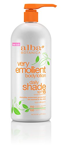 Sun Daily Body Lotion - Alba Botanica Very Emollient Body Lotion, Daily Shade Formula, SPF 15, 32-Ounce Bottle