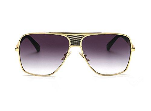 Hombre De Marco Clásicas Retro Gris Sol Vintage Unisex Cuadrado Oro Gafas uv400 Lente Redondas Aviador Gradiente Grandes Metal AgfqwAWE