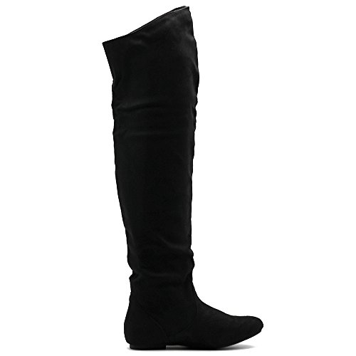 Ollio Frauen Schuh Stretch Faux Suede oder Kunstleder über die Knie flache Falten lange Stiefel Schwarz-SUEDE