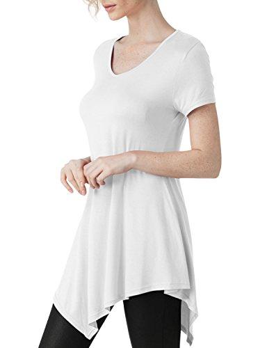 [Elbon Boutique Womens Short Sleeve Scoop Neck Solid / Tie Dye Tunic Top WHITE 2XL] (Maternity Fancy Dress Uk)