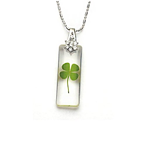 Real Clover (Stainless Steel Real Four Leaf Clover Good Luck Rectangular Clear PendantNecklace, 16-18 inches)