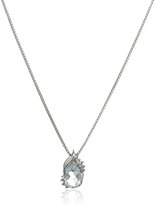 Elmas Jewelry Sterling Silver 0.03 Carat Round White Diamond Created Oval Aquamarine Pendant Necklace for Women I-J Color, I3 Clarity