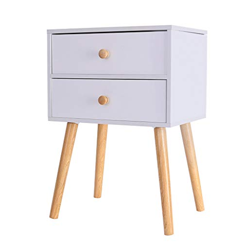 Small Nightstand,Jchen 【Ship from USA】 North American Modern Minimalist Bedside Cabinet Storage End Side Table Nightstand with Storage Drawer Solid Wood Legs Living Room Bedroom Furniture (White) (Furnitures Bedrooms)