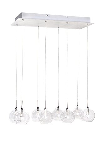ET2 E20107-24 Starburst 8-Light Linear Pendant, Polished Chrome Finish, Clear Glass, 12V G4 Xenon Bulb, 50W Max., Dry Safety Rated, Shade Material, 4600 Rated Lumens