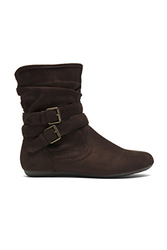 Herstyle Lindell Womens Stacked Heel, Round Toe, Riding Boots, Fashion Slouchy Booties,(The Color of Brown Runs One Size Smaller Than Normal. Brown