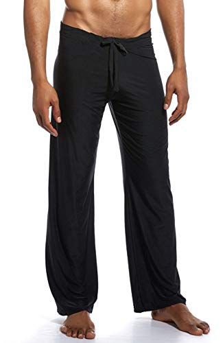 Mens Silk Pant - Mendove Men's Yoga Lounge Long Ice Silk Pants Size Large Black