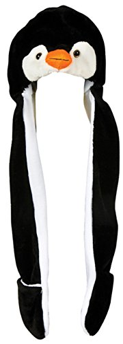 [Plush Penguin Hat Novelty Cap Animal Costume Beanie With Long Paws] (Happy Feet Penguin Costumes)