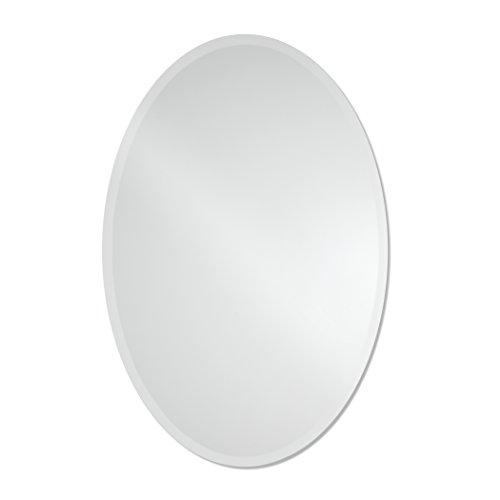 24in Vanity (Large Frameless Beveled Oval Wall Mirror | Bathroom, Vanity, Bedroom Mirror | 24-inch x 36-inch)