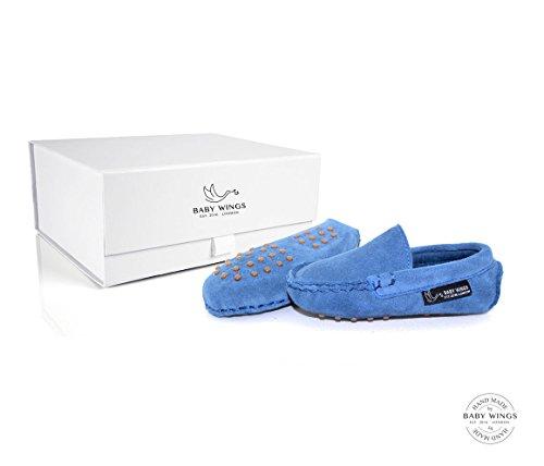 BABYWINGS ® Unisex Enfants & Bébés Suède 100% cuir Chaussures (12-18 Months: Length: 14.5cm, Bleu)