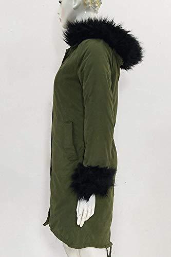 Manica Giovane Invernali Giacca Tasche Di Lunga Laterali Pelliccia Cappuccio Moda Verde Cappotti Pulsante Collo Coat Windbreaker Donna Abbigliamento Caldo Coulisse Con c8PWnPOU