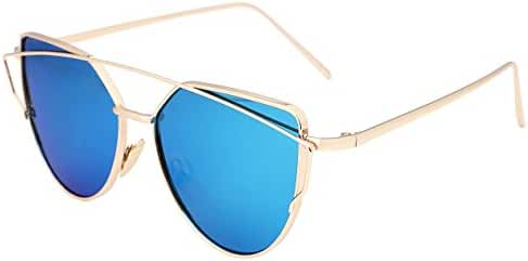 FEISEDY Cat Eye Mirrored Flat Lenses Metal Frame Women Sunglasses UV400 B2206