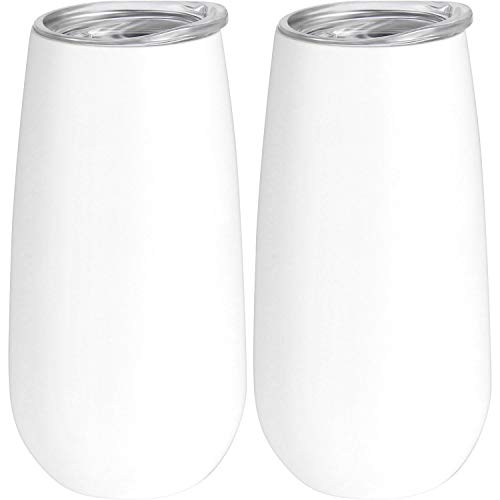 (Skylety 2 Packs Double-insulated Stemless Champagne Flutes Wine Tumbler, 6 OZ Unbreakable Cocktail Cups Reusable Champagne Toasting Glasses with Lids (White))