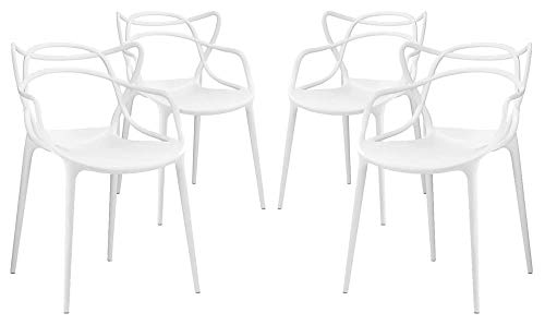 Modway Entangled Contemporary Modern Dining Armchairs in White - Set of 4