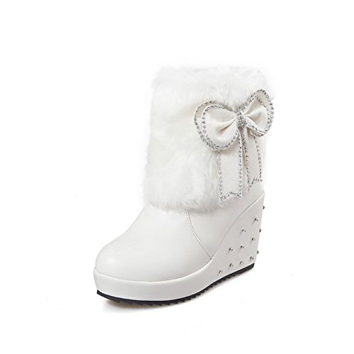 AgooLar Women's Low-top Solid Pull-on Closed Round Toe High-Heels Boots White