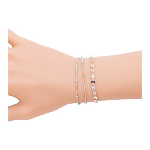 Geerier Multi Layer Coin Disc Dainty Bracelets Minimalist Jewelry